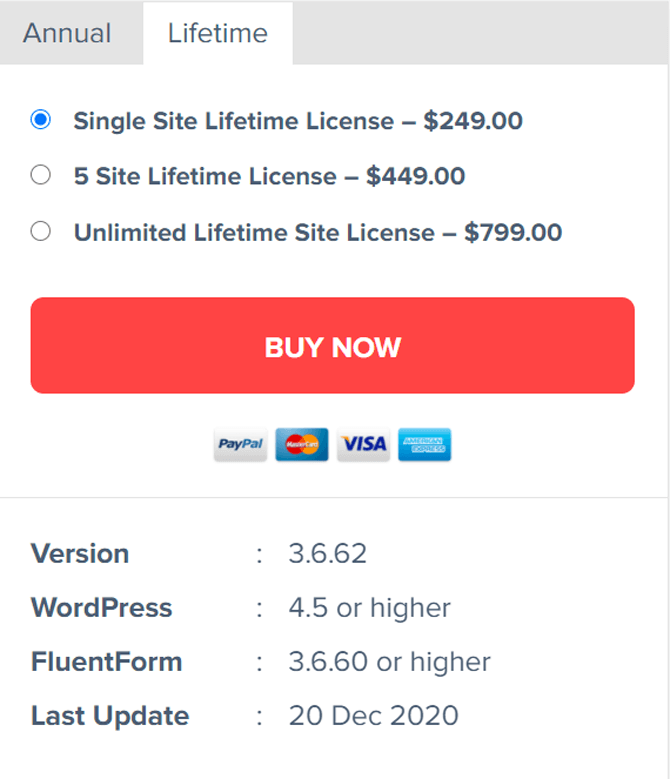 fluent forms life time pricing