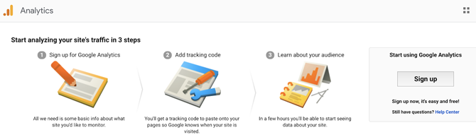 welcome page of google analytics