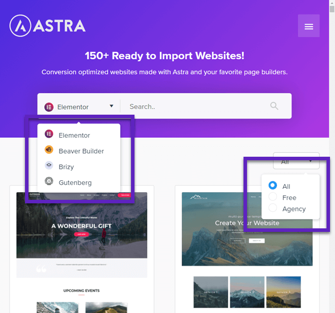 astra pro filtering template