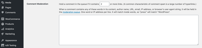 wordpress hold comment