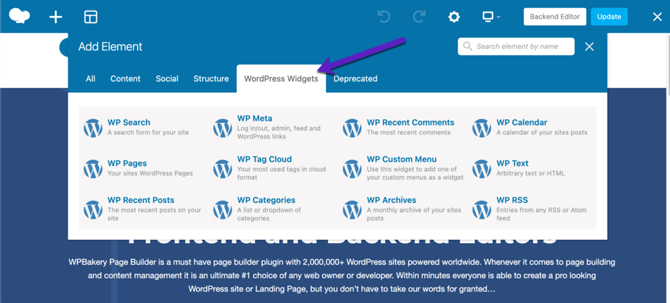 wpbakery wp widgets