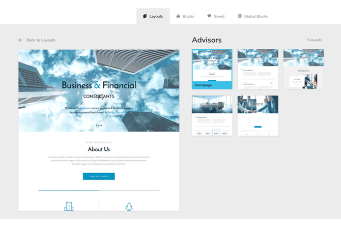 brizy page builder layout pages