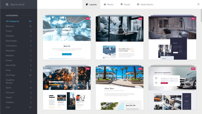 brizy page builder layouts
