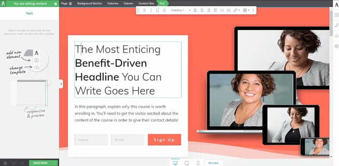 editing on the frontend with thrive architect