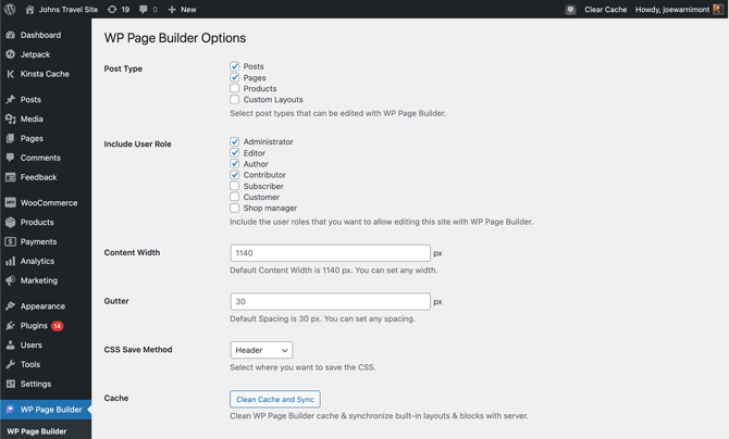 the settings for the plugin