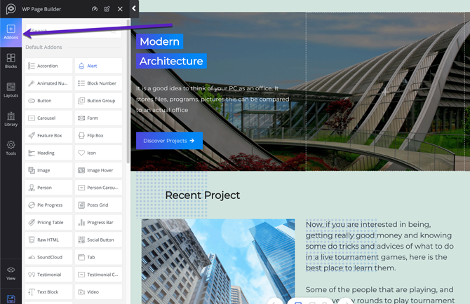 add-ons in our WP Page Builder Review