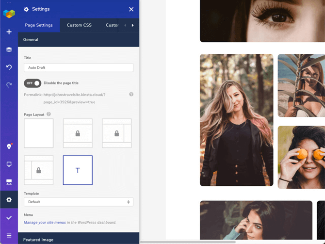visual composer page settings