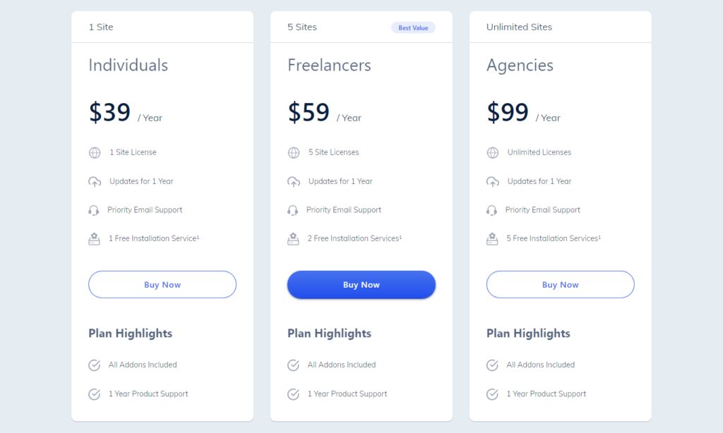wp page builder pricing